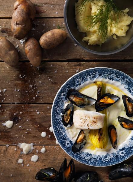 Emil Nyström Baggböle Herrgård fotograf fotografering Mat torsk potatis musslor